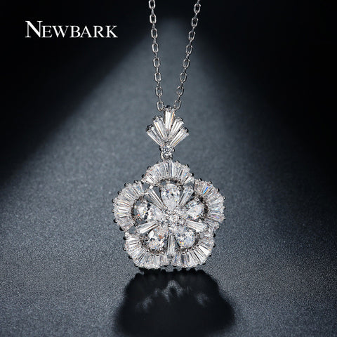 Blossom Design Pendant Chains Necklaces White Gold Plated CZ Diamond