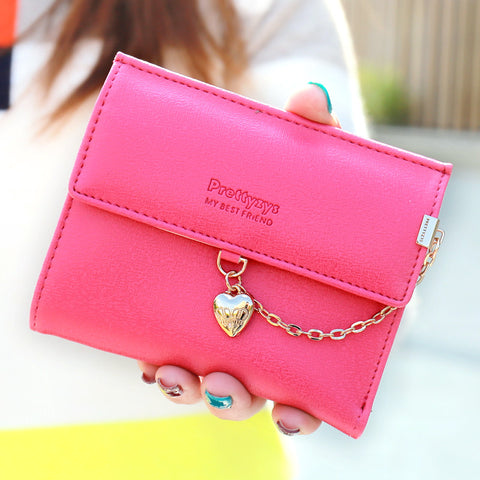 high quality PU folding women Wallet Female coin Clasp Purse