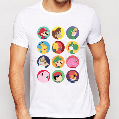 Character Printed Men T-shirt Super Mario Male Colorful Basic Tops
