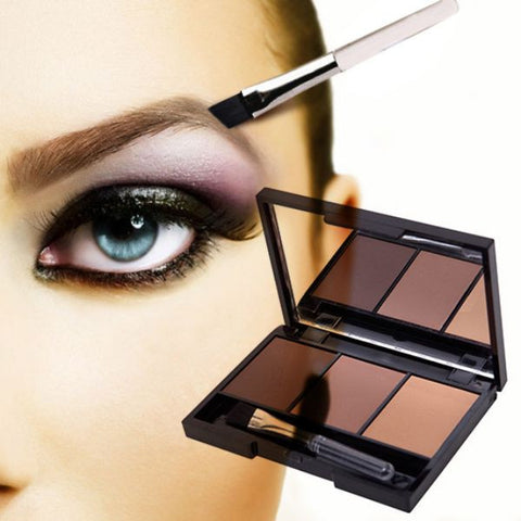 3 Color Eyebrow Powder Shadow Palette Enhancer with Ended Brushes