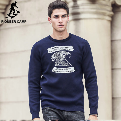 Fashion Famous Brand casual blue Jacquard Pullovers Sweater