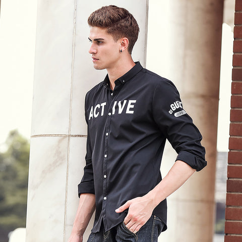 Autumn black Men Shirts Casual Slim Fit Long Sleeve Shirt Male designer