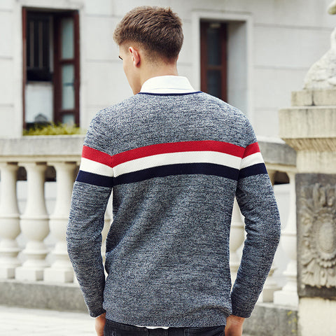 Fashion Men Sweaters and Pullovers Famous Brand Spliced casual Sweater
