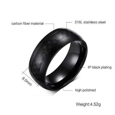 8mm Wide Carbon Fiber Rings for Men Jewelry Stainless Steel
