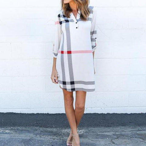 Classical Plaid Printed Dress Autumn Loose Dress Shirt Office Dress Plus Size