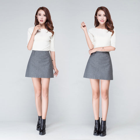 Autumn Brief Basic Black Gray Zipper Closed High Waist Mini A-Line Skirt
