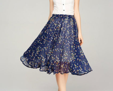 Chiffon Skirts For Women Summer Female Causal Elastic Waist A-Line Knee-Length