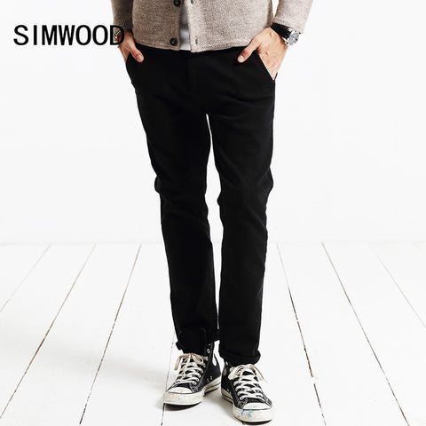Casual Pants Men Fashion Trousers Slim Fit Warm Brand Clothing