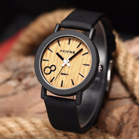 Casual Wooden Color Leather Strap Watch Wood Male Wristwatch