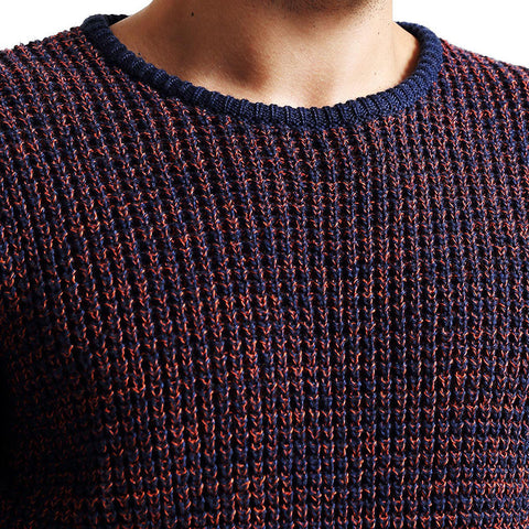 Autumn Leisure Round neck Wool Pullover Color Matching Sweater