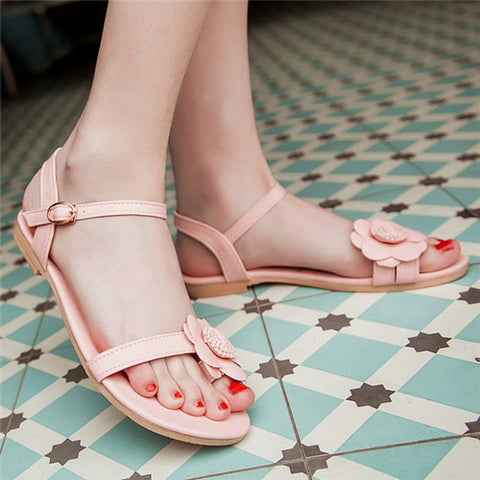 Lady's Sandals Summer Open Toe Ankle Strap