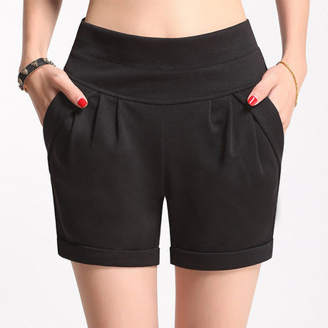 casual thin mid waist belt black&pink&white plus size S-4XL women shorts