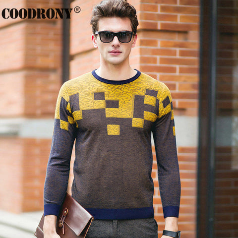 Hit Color Plaid Round Neck Shirt Knitted Cashmere Wool Pullover Men