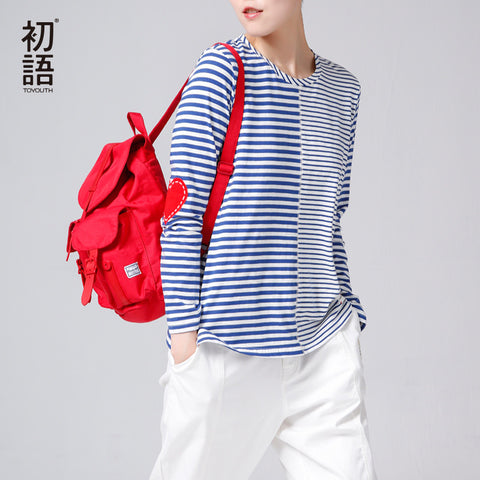 Autumn Women Casual Cotton Striped Printed Loose O-Neck Top