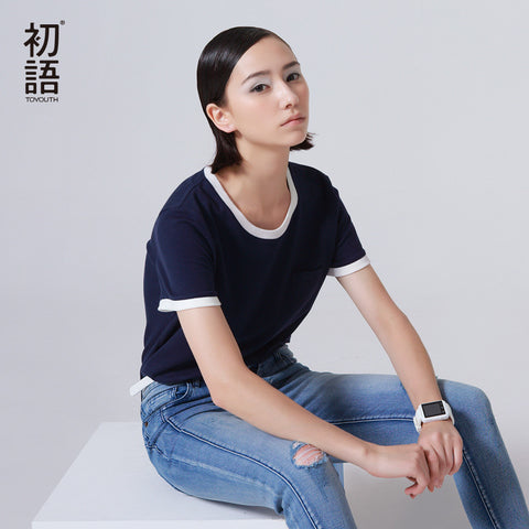 T-shirt Casual O-Neck Loose Cotton Base Shirt Female Solid Top