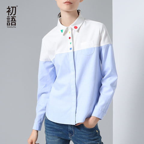 Autumn Winter Contrast Color Casual Female Turn Down Collar Shirt Blouse