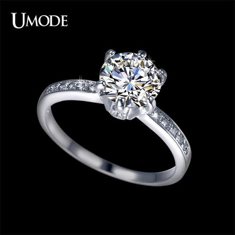 2ct Top Grade CZ Anillos Mujer Bague White Gold Plated Engagement Rings