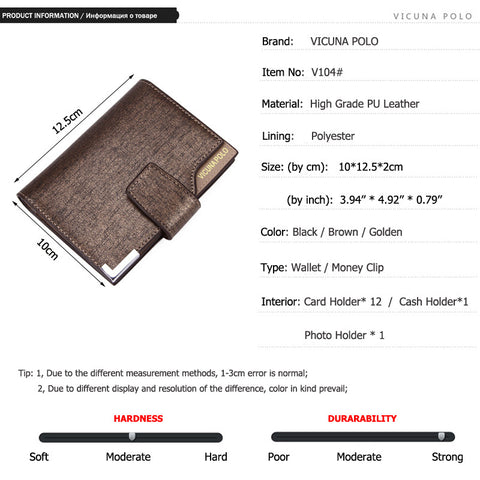 VICUNA POLO Italy Famous Brand Men Wallet High Quality PU Leather