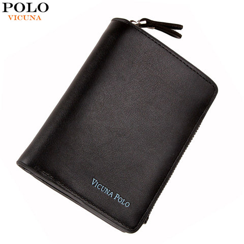 VICUNA POLO Luxury Genuine Leather Men Wallet With Zipper Coin Pocket