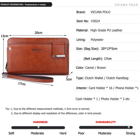 VICUNA POLO New Arrival High Capacity Leather Men's Clutch Wallet