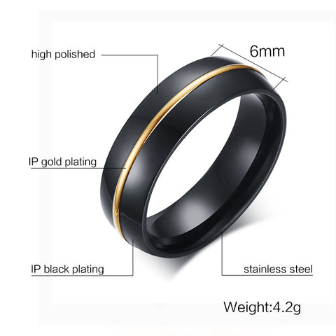 Black Men Wedding Bands Rings Classical 6MM Wide Stainless Steel Rings