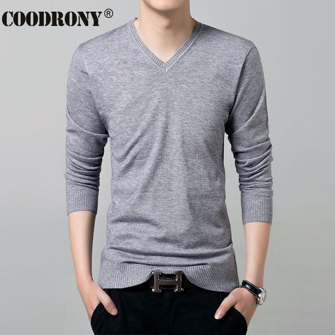 Knitted Cashmere Wool Pullover Men Solid Color Long Sleeve Shirt Men
