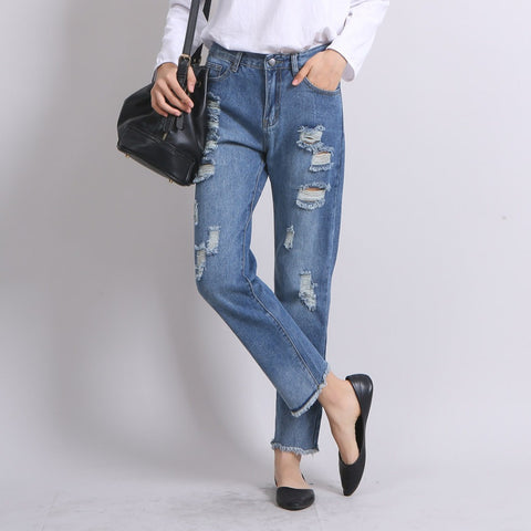 Jeans Street Style Long Loose Tassels Casual Pants Autumn Pants