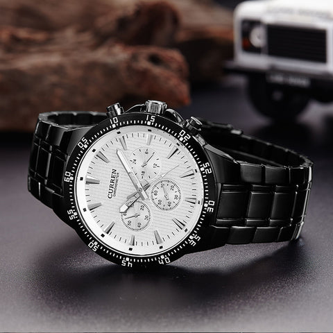 blackcat quartz analog male clock curren  fashion wrist watch