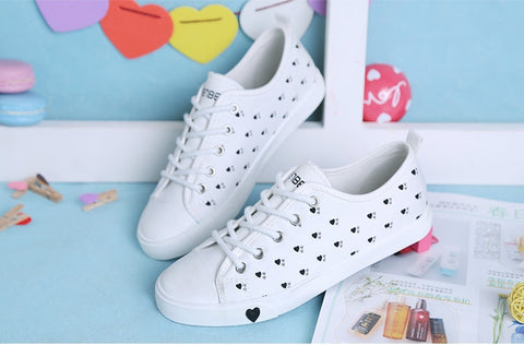 casual shoes low flat cotton-made lazy shoe single shoes love printed