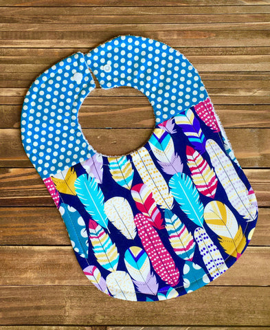 Girl Baby Bib Feathers Baby Shower Gift