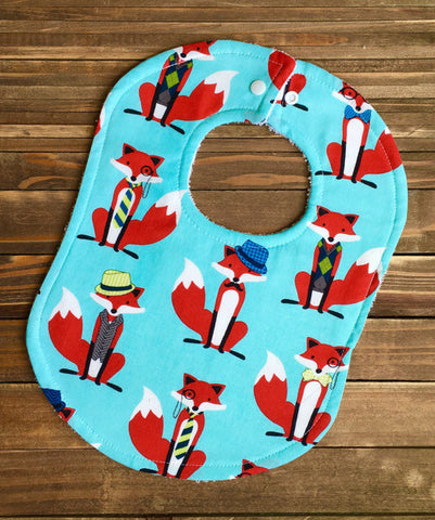Fox Party, Fox Bib For Baby Boy, Baby Boy Bib For First Birthday Party Gift, Woodland Creatures