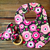 Organic Baby Girl Teething Ring and Bib Set Baby Shower or Birthday Gift