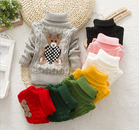 cartoon sweaters children pullovers outerwear babi turtleneck sweater