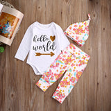 Girls Little Girl Romper +Long Pants Hat Outfits Set