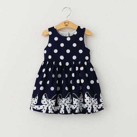 Sleeveless Dot Printing Princess Dress