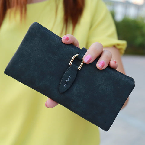 Lady Letter Snap Fastener Long Clutch Wallet Vintage Matte