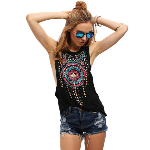 Black Round Neck Sleeveless Vintage Tribal Print Fitness Casual Tank Tops