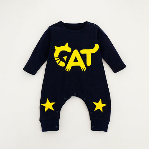 cat star print baby boys rompers