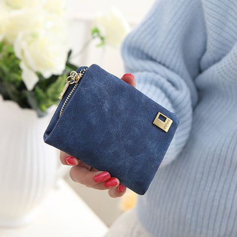Fashion Women Wallets Lady Matte PU Leather Zipper