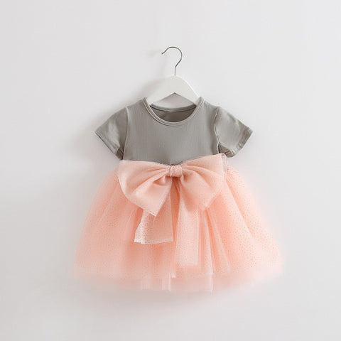 mesh princess dress Net Yarn bowknot stitching dress