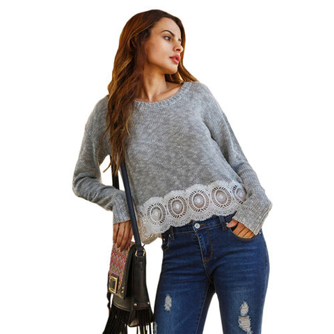 Grey Round Neck Long Sleeve Applique Hem Loose Crop Pullover Sweater
