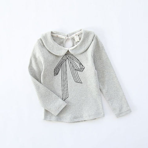 Girls Lace Bow Long Sleeve Tops Casual T Shirt