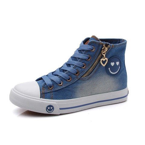 Denim Canvas Shoes Women Casual Shoes High Quality Zip