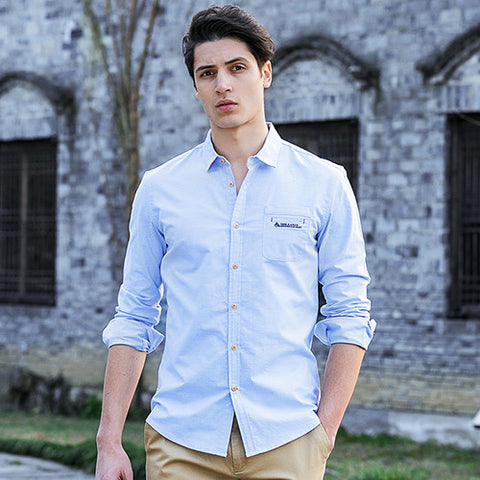 autumn spring mens shirts long sleeve slim fit casual streetwear business