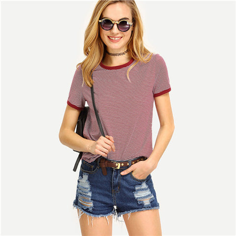 Casual Tees Womens Multicolor Short Sleeve Crew Neck Striped T-shirt