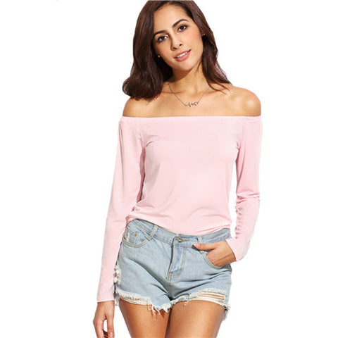 Casual Ladies T-Shirt Tops Plain Pink Off The Shoulder Long Sleeve T-shirt