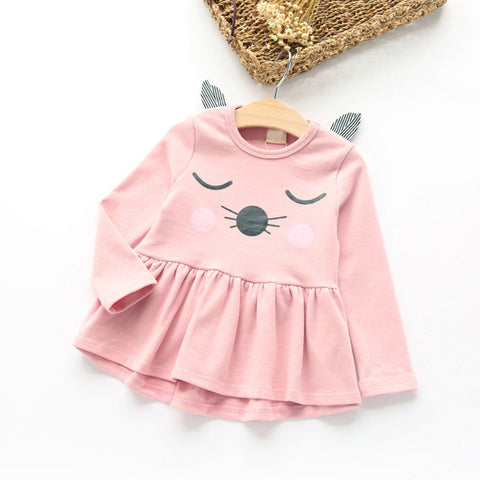 Autumn Girls Dress  Long Sleeve Kitty Print