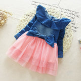 Baby Girls Denim Jeans Splicing Lace Bow