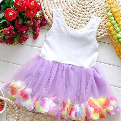 Colorful Mini Tutu Dress Petal Hem Dress