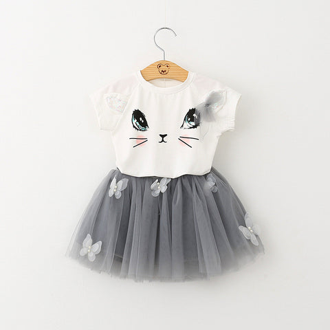 Fashion Style T-Shirts+Net Veil Dress 2Pcs Girls Clothes Sets